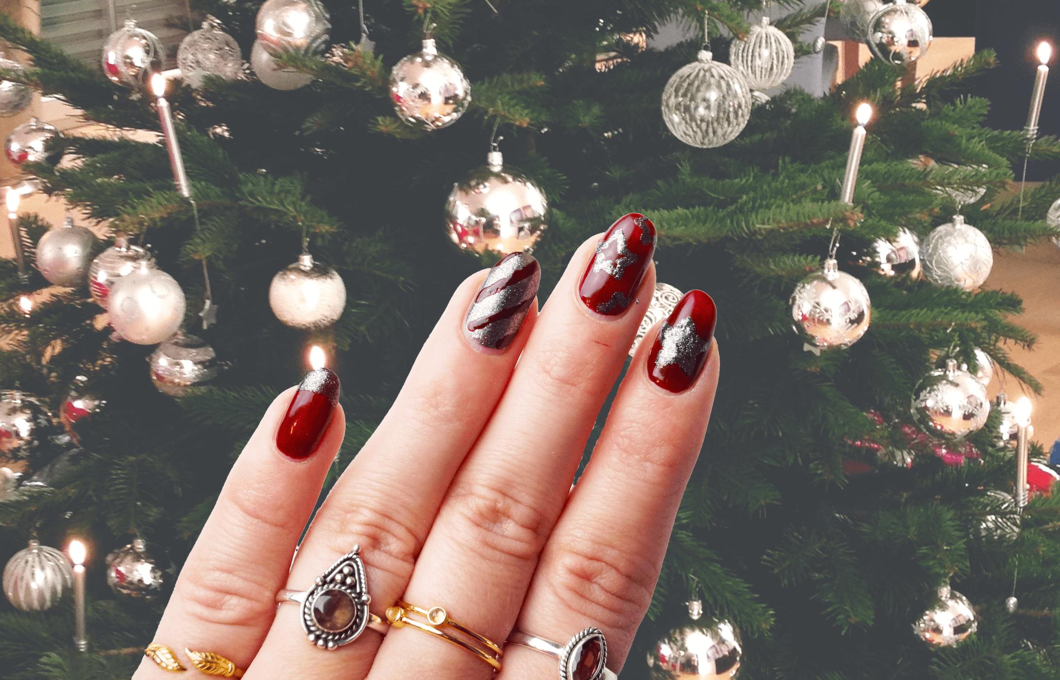 Weihnachtsnägel: Perfektes Rot trifft auf Diamantenstaub ...