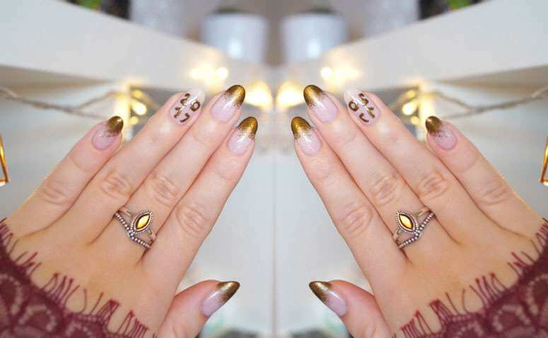 silvester naildesign edle diamantenstaub n gel in gold. Black Bedroom Furniture Sets. Home Design Ideas